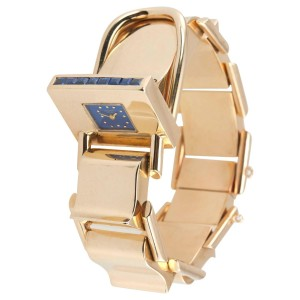 Retro Gold Bracelet Watch with Sapphires, Circa 1950s