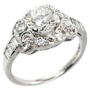 1.26 Carat Diamond and Platinum Ring, Circa 1930s