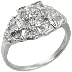 1.06 Old European Cut Diamond Art Deco Engagement Ring
