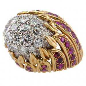 Diamond and Ruby Gold Flame Cocktail Ring