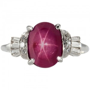 Art Deco Natural Burma Star Ruby, Diamond, and Platinum Ring