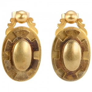 Victorian Gold Oval Earrings