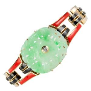 Cartier Art Deco Jade and Enamel Gold Bracelet