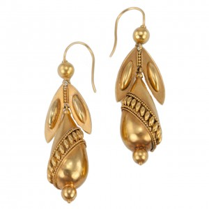 Victorian Gold Archeological Revival Pendant Earrings