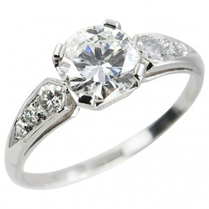 1.05ct Diamond in Platinum 1950s Engagement Ring