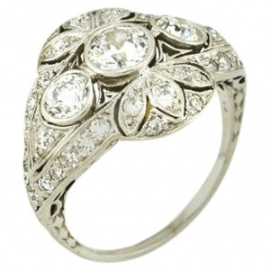 Edwardian Old European Cut Diamond and Platinum Ring