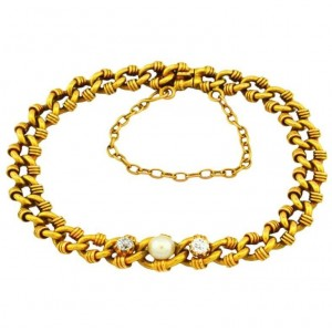Victorian Gold Link Bracelet with Pearl and Diamonds