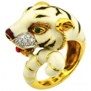 Tiger Gold and Enamel Ring with Diamonds and Emeralds