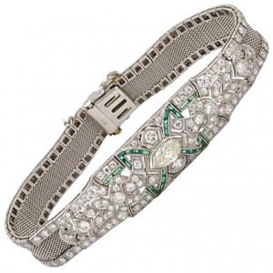 Art Deco Diamond and Emerald Platinum Bracelet Circa 1920