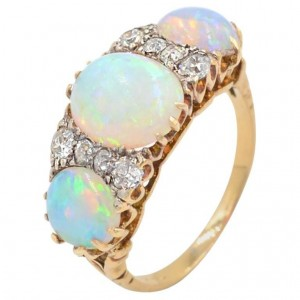 Victorian 3-Stone Opal and Diamond 14K Yellow Gold Ring Circa 1900