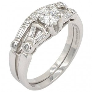 1950s Diamond Engagement Ring and Band Platinum Set