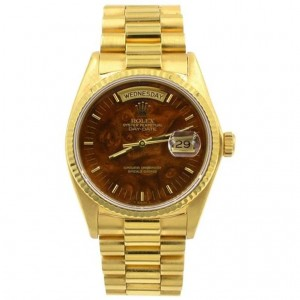 Rolex 18K Gold President Day Date Watch with Wood Dial, Ref 18038, Circa 1982