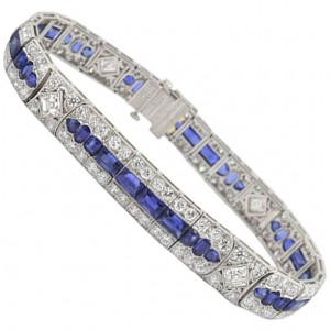 Tiffany & Co Art Deco Burma Sapphire and 11 Carats of Diamond Platinum Bracelet