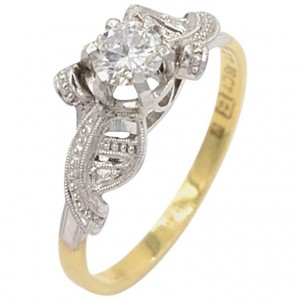 Vintage 0.40 Carat Round Brilliant Cut Diamond and Platinum and 18K Gold Ring