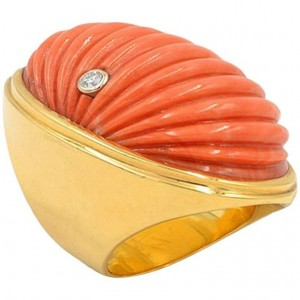 Vintage Large Coral and Diamond 18K Gold Ring Circa 1960