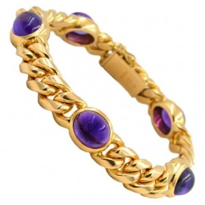 Vintage 1980s Amethyst and 18K Yellow Gold Link Bracelet
