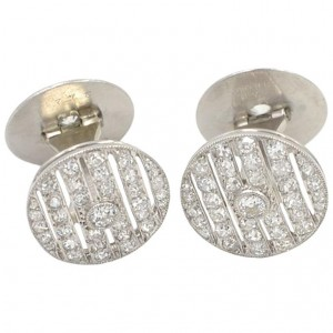 Cartier Art Deco Diamond and Platinum Cufflinks
