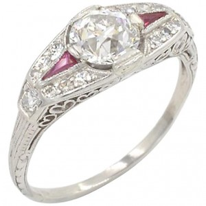 0.80 Carat Old European Cut Diamond and Ruby Art Deco Platinum Ring