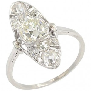 Edwardian Old Mine Cut Diamond and Platinum Ring from Circa 1915