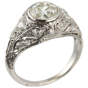 1.23 Carat Old European Cut Diamond Edwardian Engagement Ring