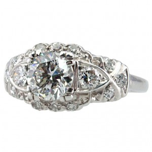 1.17 Carat Diamond Art Deco Platinum Engagement Ring circa 1930