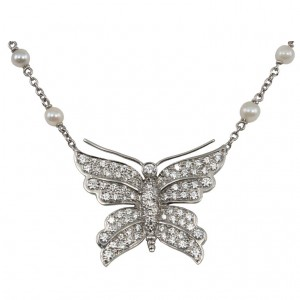 Tiffany & Co Diamond Butterfly and Pearl Platinum Necklace