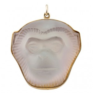 Lalique Crystal Monkey Face Pendant