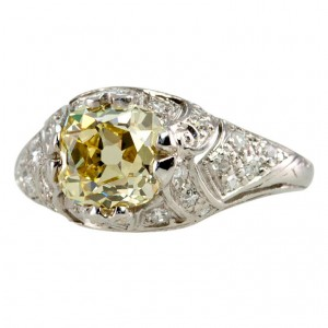 1.61 Carat Natural Fancy Yellow Cushion Cut Diamond Ring