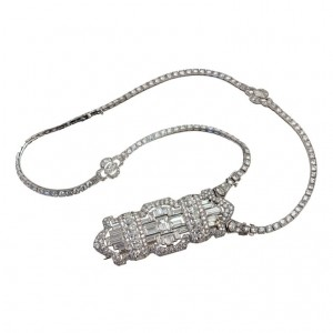 Art Deco Diamond Brooch W/Necklace Attachment