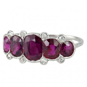 Classic Five Ruby Edwardian Ring