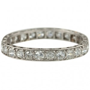 1920s Diamond Bead Set Eternity Band in Platinum
