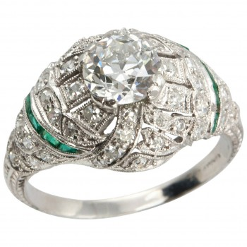 0.92 Carat Old European Cut Diamond Engagement Ring with Emerald Accents
