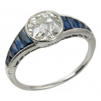 Art Deco 1.65 Carat Diamond Platinum Engagement Ring with Sapphires