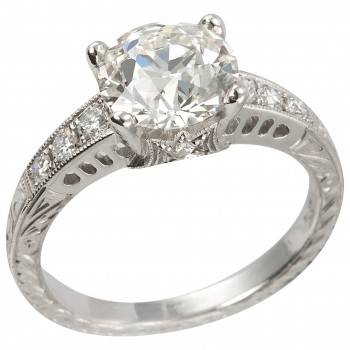 1.91 Carat Old European Cut Diamond and Platinum Engagement Ring