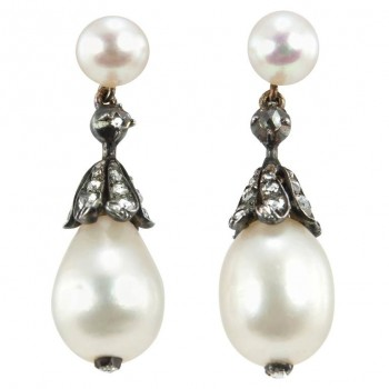 Victorian Natural Pearl and Diamond Dangle Earrings