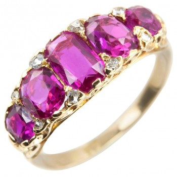 Victorian Ruby and Diamond Five-Stone Gold Ring