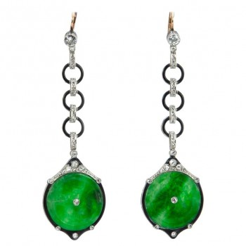 Edwardian Jade, Diamond and Enamel Dangle Earrings
