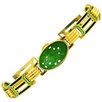 Art Deco Gold and Enamel Link Bracelet with Carved Jade