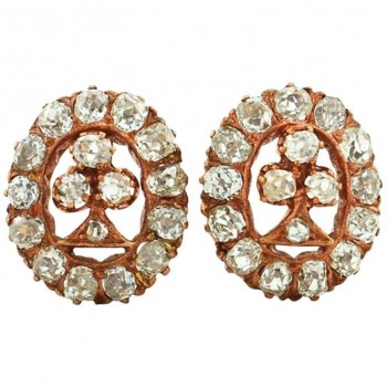 Victorian Old Mine Cut Diamond and Rose Gold Earrings