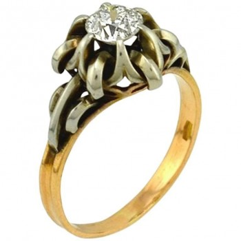 0.55 Carat Old European Cut Diamond 14K Yellow Gold and Silver Engagement Ring