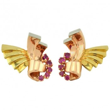 Retro Ruby and 14K Pink, Yellow, and White Gold Earrings