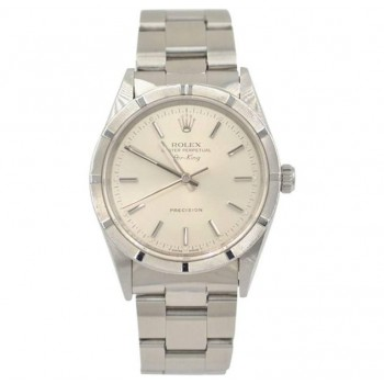 Rolex Stainless Steel 14010 AirKing Silver Stick Dial Wristwatch