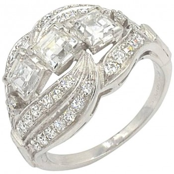 Vintage 3-Square Diamond and Platinum Ring Circa 1930