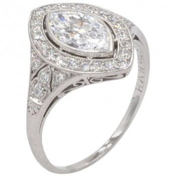 0.94CT Marquise Golconda Diamond Platinum Engagement Ring Circa 1930