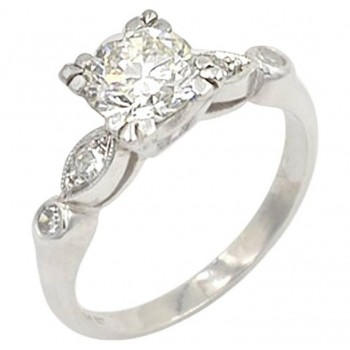 Vintage 0.93 Carat Round Diamond and Platinum Engagement Ring Circa 1940