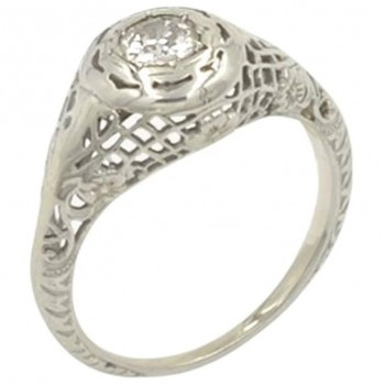 GIA Certified 0.28 Carat Old European Cut Diamond and 18K Gold Engagement Ring