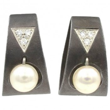 Marsh Blackened Stainless Steel Earrings with Pearls and Diamonds circa 1930