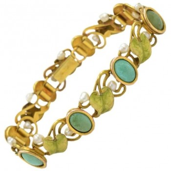 Art Nouveau 14K Gold Enamel Bracelet with Turquoise, Serpentine, and Pearls