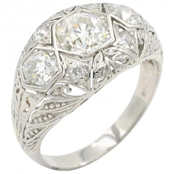 Art Deco Three-Stone Diamond and Platinum Ring Circa 1930s