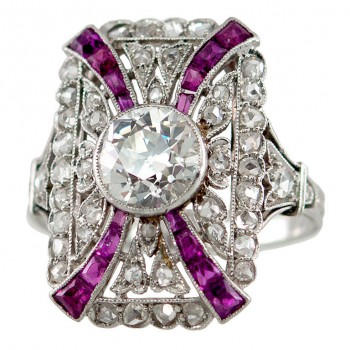 Edwardian Ring with Diamonds and Rubies